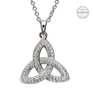 Silver Trinity Knot Necklace Embellished with Swarovski Crystals