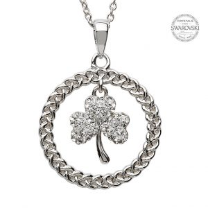 Silver Celtic Shamrock Necklace Encrusted With Swarovski Crystal
