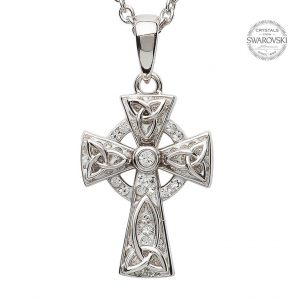 Silver Celtic Trinity Knot Cross Embellished With Swarovski