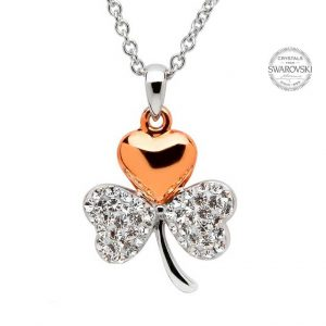 Silver Rose Gold Plated Shamrock Necklace Encrusted With Swarovski Crystals