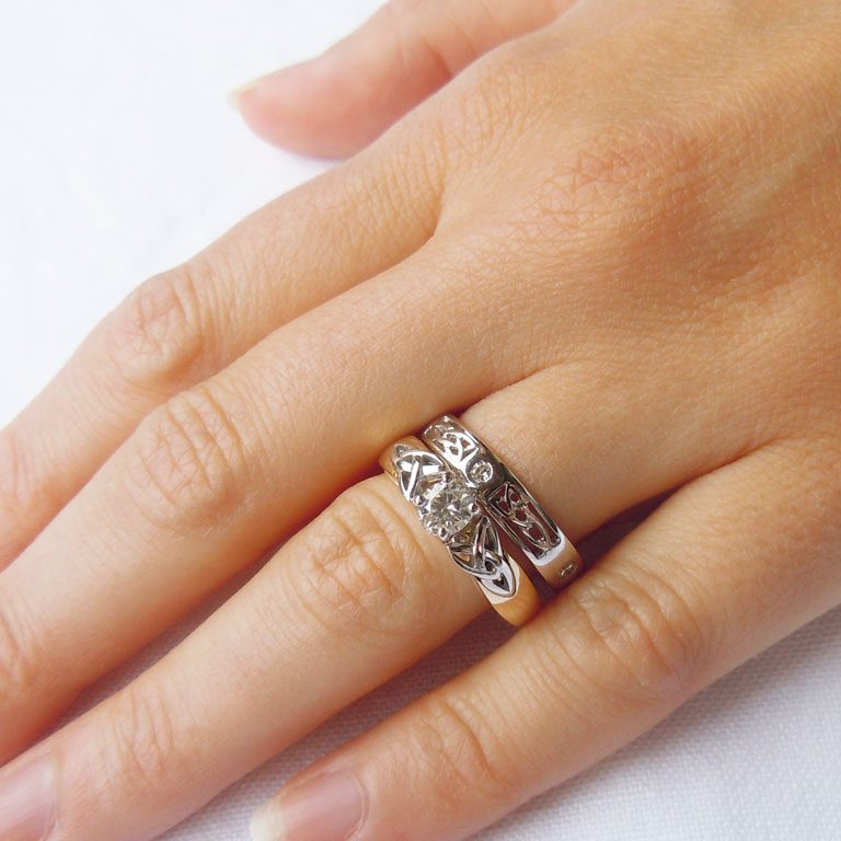 Diamond Ring with Matching Wedding Band