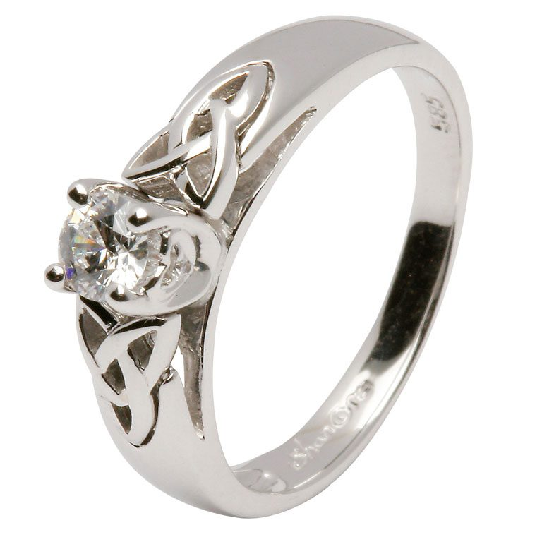 14 Karat White Diamond Celtic Love Knot Ring