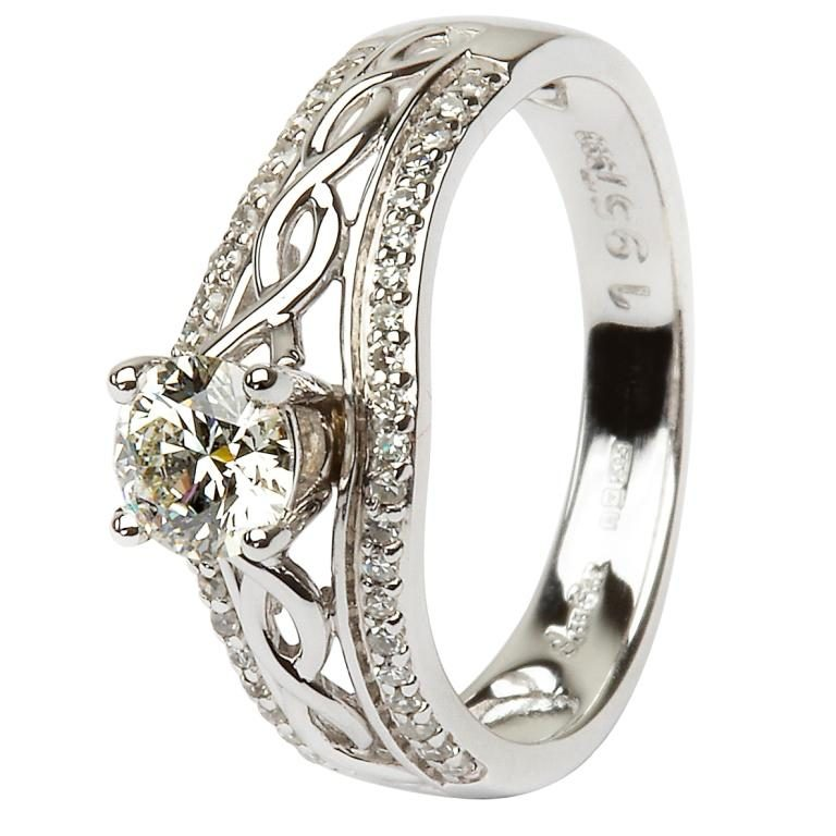 14K White Gold Pave Set Diamond Engagement Ring with Celtic Knot Design