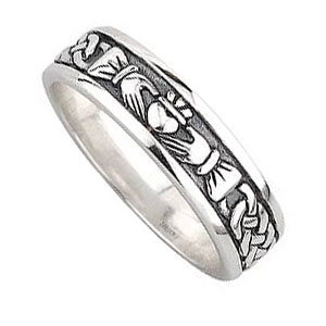 Gents Silver Claddagh and Celtic Band