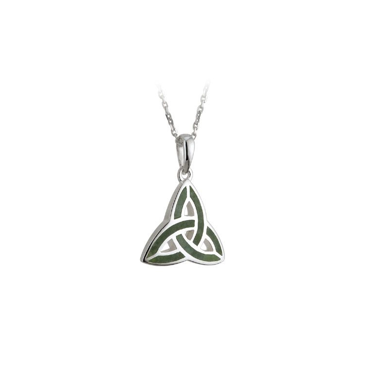 Silver and Connemara Marble Trinity Knot Celtic Pendant