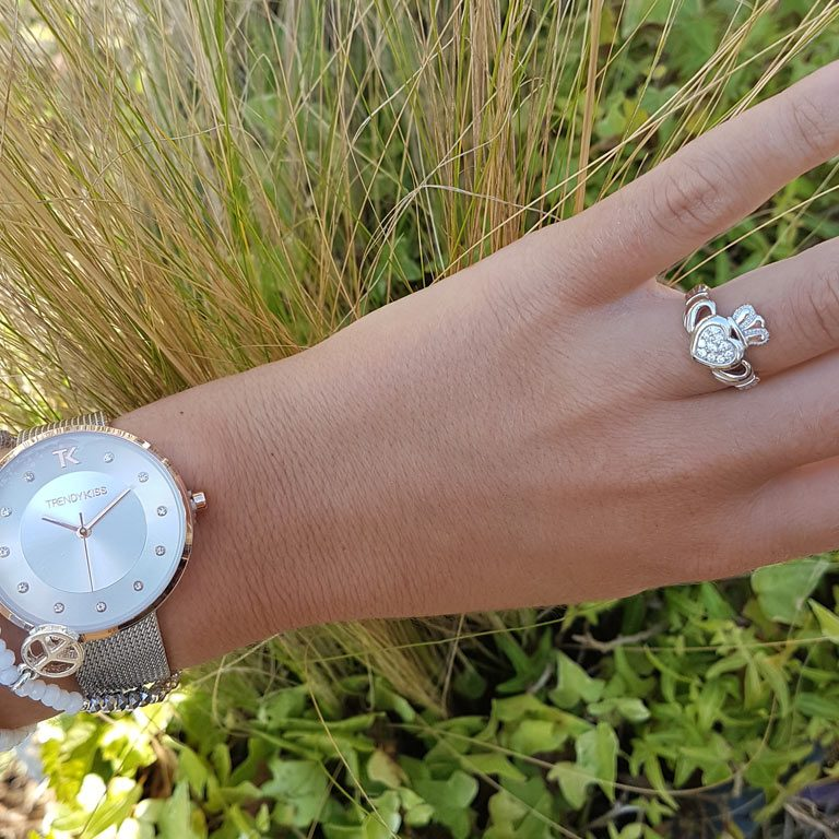 Ladies Claddagh Pave Set Ring with Model wearing Watch