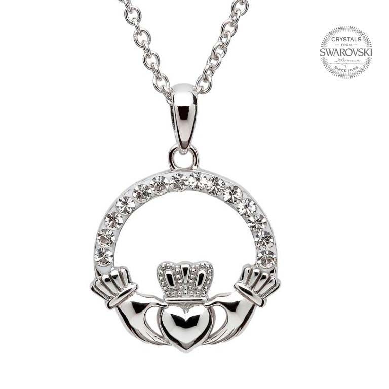 Silver Claddagh Necklace Embellished With Swarovski Crystals