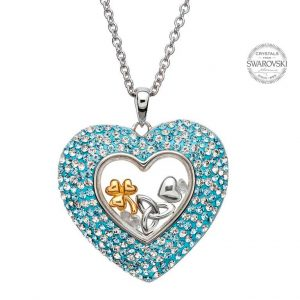 Silver Heart Necklace Encrusted With Swarovski Crystals