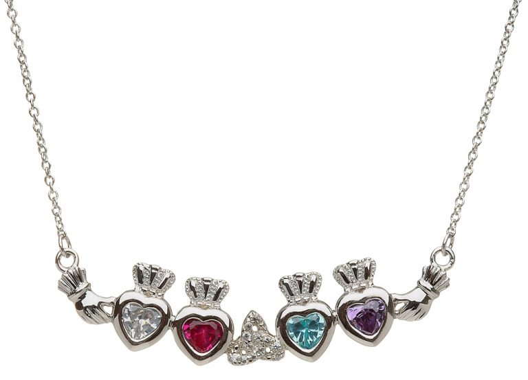 4 Birthstone Claddagh and Trinity Knot Mothers Pendant