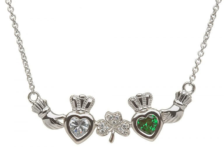 2 Birthstone Claddagh and Shamrock Mothers Pendant