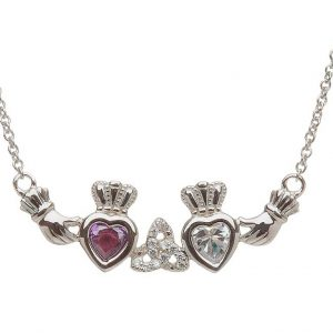 2 Birthstone Claddagh and Trinity Knot Mothers Pendant