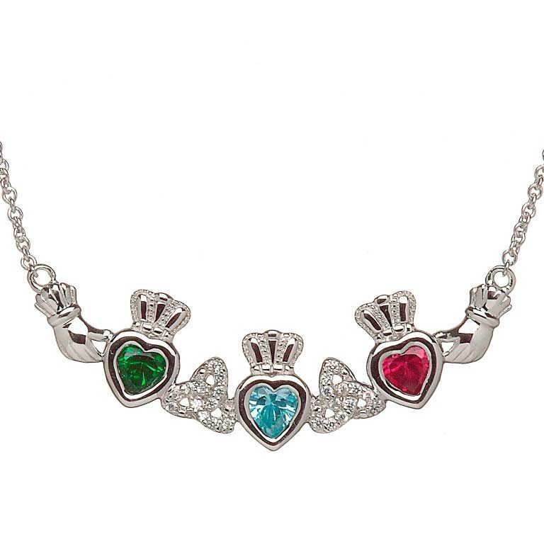 3 Birthstone Claddagh and Trinity Knot Mothers Pendant