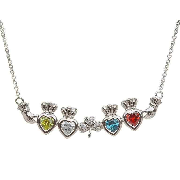 4 Birthstone Claddagh and Shamrock Mothers Pendant