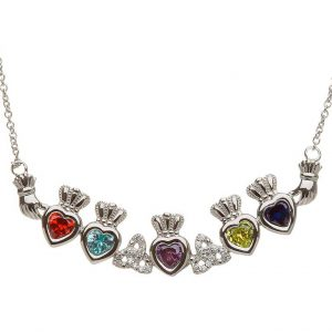 5 Birthstone Claddagh and Trinity Knot Mothers Pendant