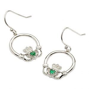 Silver and Stone Set Claddagh Earrings