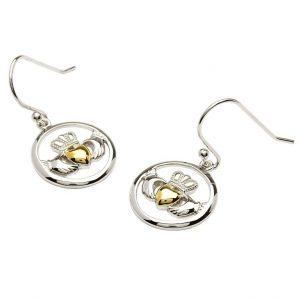 Circular Silver & Gold Heart Claddagh Earrings