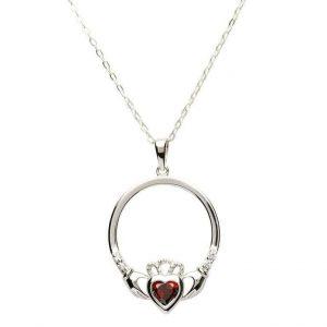 Silver Claddagh Birthstone Pendant - January