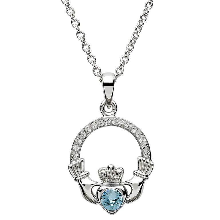 Silver Claddagh Birthstone Pendant March - Aquamarine
