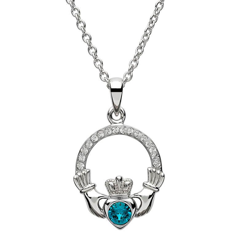 Silver Claddagh Birthstone Pendant December - Blue Topaz