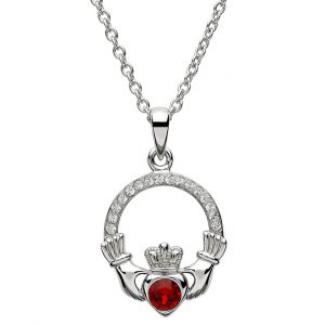 Silver Claddagh Birthstone Pendant January - Garnet