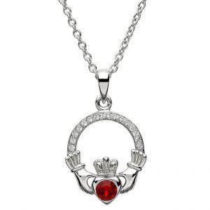 Silver Claddagh Birthstone Pendant January - Garnet