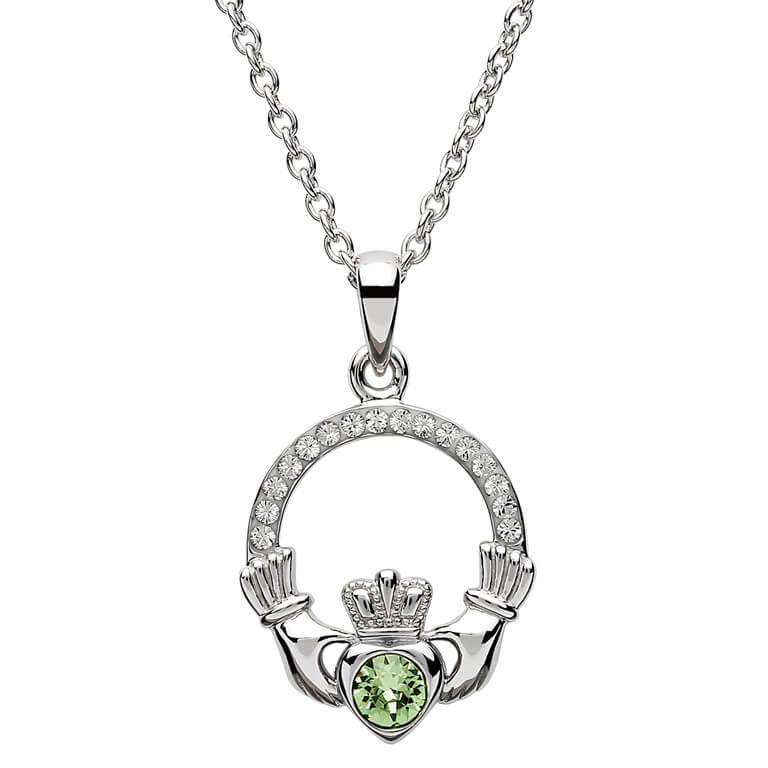 Silver Claddagh Birthstone Pendant August - Peridot