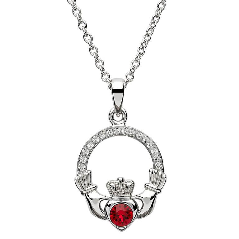 Silver Claddagh Birthstone Pendant July - Ruby