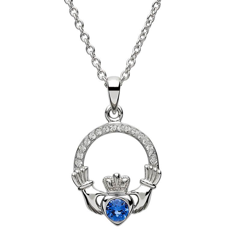 Silver Claddagh Birthstone Pendant September - Sapphire