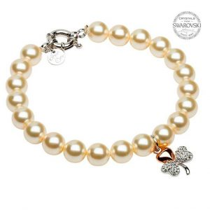Rose Gold Plated Shamrock Pearl Bracelet Adorned With Swarovski Crystals