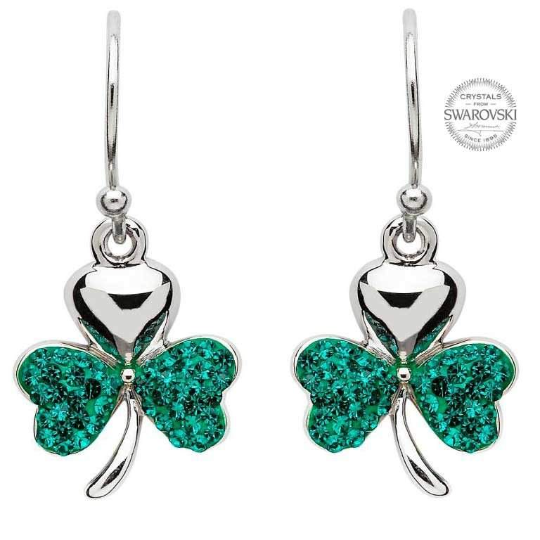Shamrock Earrings Encrusted With Swarovski Crystals