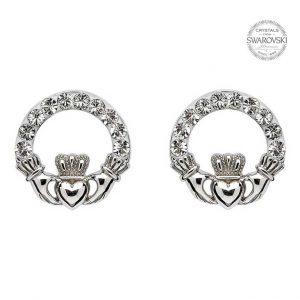 Claddagh Stud Earrings Adorned With Swarovski Crystalss