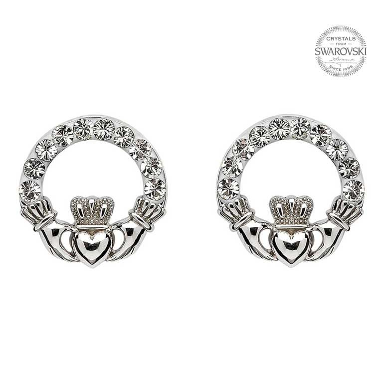 Claddagh Stud Earrings Adorned With Swarovski Crystalss