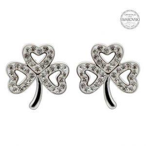 Shamrock Stud Earrings Adorned With Swarovski Crystals