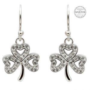 Shamrock Earrings Adorned With Swarovski Crystals
