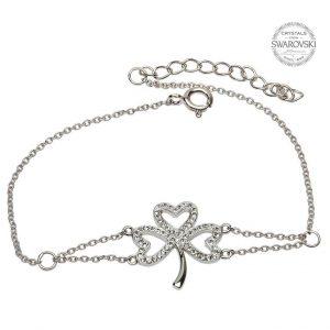 Shamrock Bracelet Adorned With Swarovski Crystals