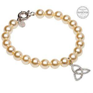 Trinity Pearl Bracelet Adorned With Swarovski Crystals