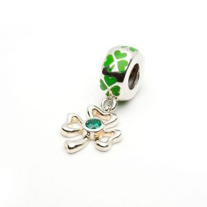 Tara's Diary Shamrock with CZ Dangle Charm