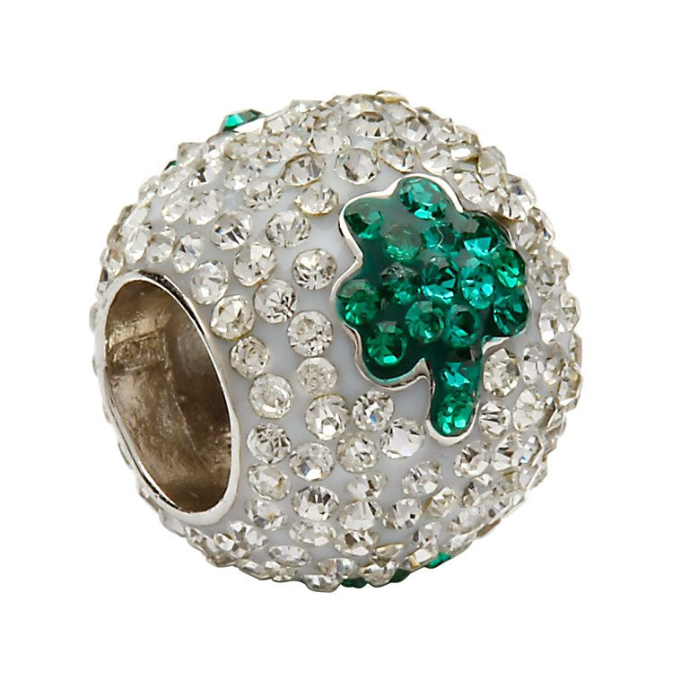 Tara's Diary Green Shamrock and Crystals Charm